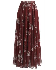 Falda larga acuarela ciruela flor en vino