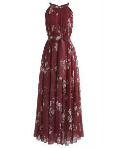 Vestido largo sin pliegues en acuarela Plum Blossom en vino