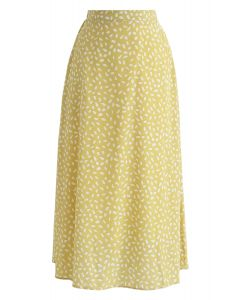Algo sobre la falda de gasa de punto en amarillo