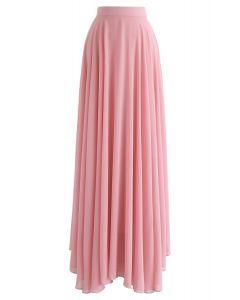 Falda larga de gasa favorita intemporal en rosa