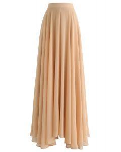 Falda larga de gasa favorita intemporal en bronceado claro