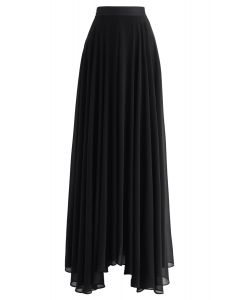 Falda larga de gasa favorita intemporal en negro