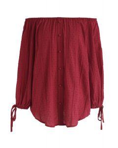 Top sin hombros Summer Breeze en rojo