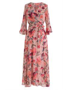 Vestido de gasa con estampado floral Million Dreams en rubor