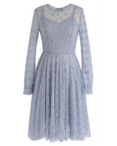Vestido de encaje Once Upon a Dream en azul polvoriento