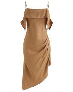 Vestido camisero asimétrico latino apasionado en bronceado