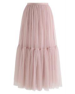 Falda de tul de malla no se puede dejar ir en rosa