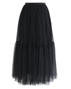 Falda de tul de malla no se puede dejar ir en negro