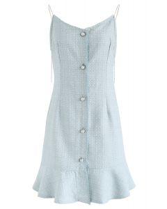 Se va a poner un vestido de camuflaje de tweed en azul