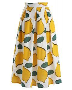Falda midi de verano Cool Lemon A-Line