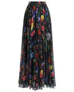 Falda larga de flores tropicales en negro