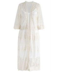 Kimono largo de malla bordada Sun Elusion