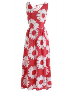Vestido largo con espalda abierta de Sunflower Glow en rojo
