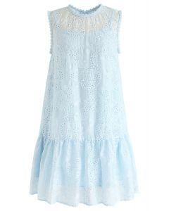 Vestido sin mangas bordado Windy Day en azul