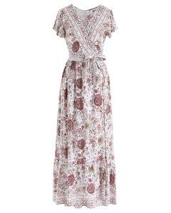 Vestido largo cruzado con flores vibrantes de Boho en marfil