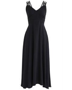 Vestido camisero perfecto con espalda cruzada Sunday en negro
