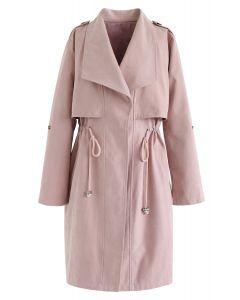 Gabardina de cintura larga con cordón en rosa
