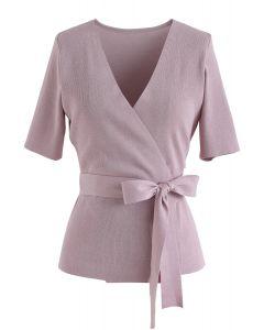 Top de punto envuelto en bowknot autoatado en rosa
