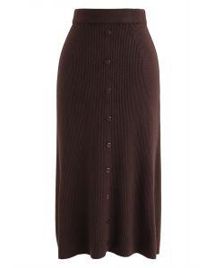 Falda midi de punto acanalada con botones en el frente en color caramelo