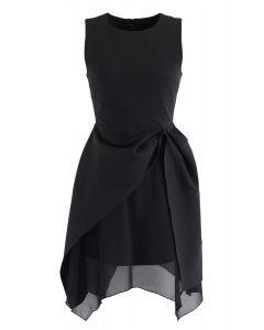 Vestido sin mangas con dobladillo asimétrico en negro