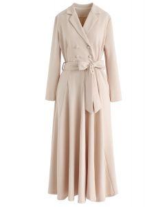 Vestido largo cruzado con lazo cruzado en crema