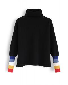 Suéter de punto de cuello alto con puños de color bloqueado en negro