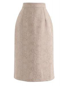 Falda lápiz de ante sintética con estampado de serpiente