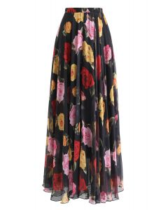 Falda larga en flor rosa acuarela en negro