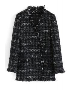 Blazer de tweed cruzado con bordes crudos