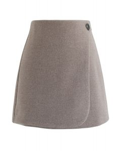 Button Decorated Flap Mini Skirt in Taupe