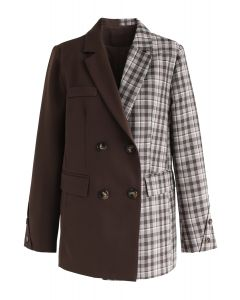 Plaid Spliced Double-Breasted Blazer in Brown