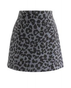 Leopard Print Wool-Blended Bud Skirt in Smoke