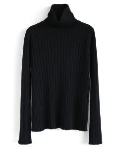 Turtleneck Sleeves Knit Sweater in Black