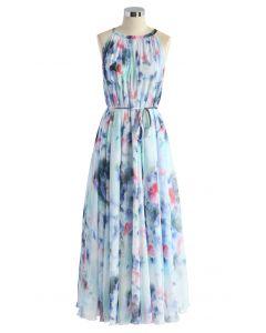 Vestido largo sin mangas floral de acuarela azul tranquilo