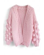Cuteness on Sleeves Cardigan grueso en rosa caramelo