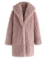 Sensación de calor abrigo largo de piel sintética en color malva